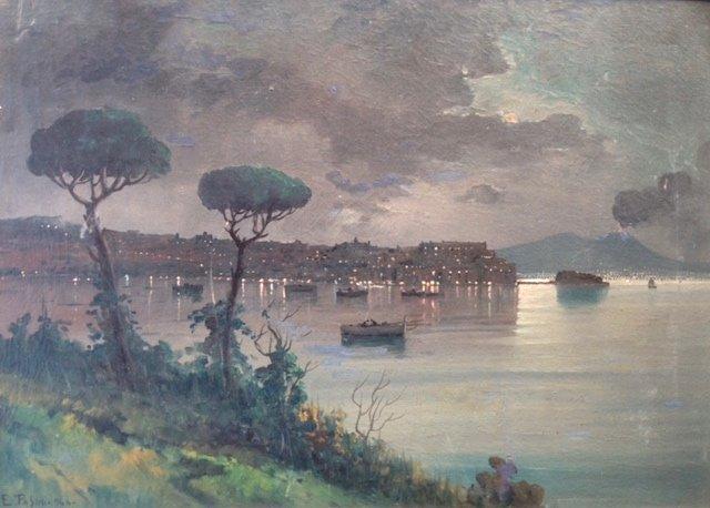 """Emilio Pasini  ( Italian 1872-1954 )""""Naples Harbor"""""""