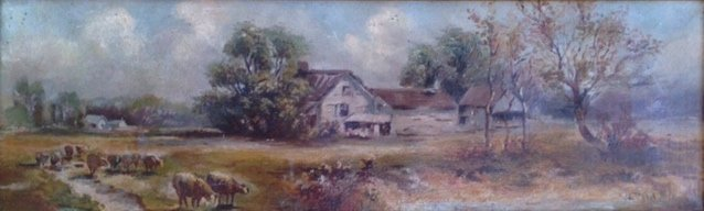 19th Century Oil Painting, Landscape With Sheep