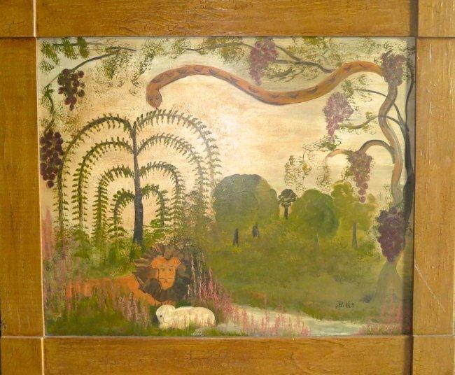 "American Folk Oil Painting, ""Paradise Restored"", Bills"