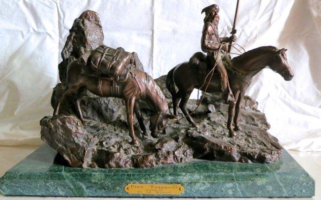 "Steve Davies Bronze Sculpture ""Trappers"""