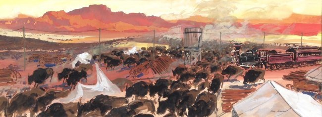 """""""How The West Was Won"""", MGM Illustration Painting 1962"""