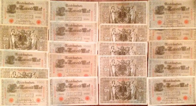 Imperial Reichsbank Note, 1000 Mark Currency, 1910