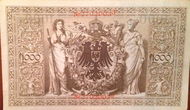 Imperial Reichsbank Note, 1000 Mark Currency, 1910 - 2