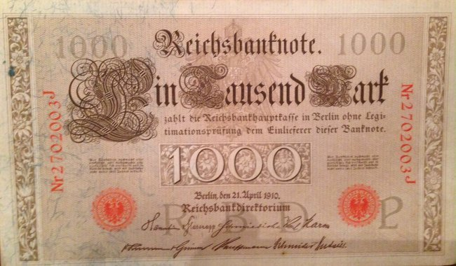 Imperial Reichsbank Note, 1000 Mark Currency, 1910 - 3