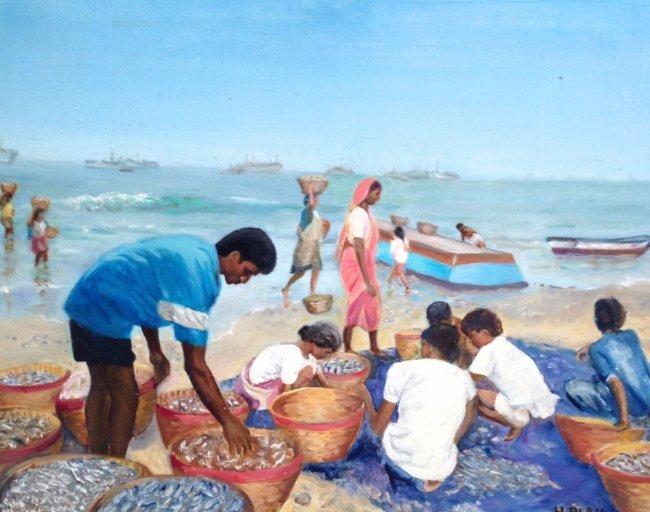 """Goa India: H. Blau Oil Painting """"Gathering Fish"""" c.1950"""