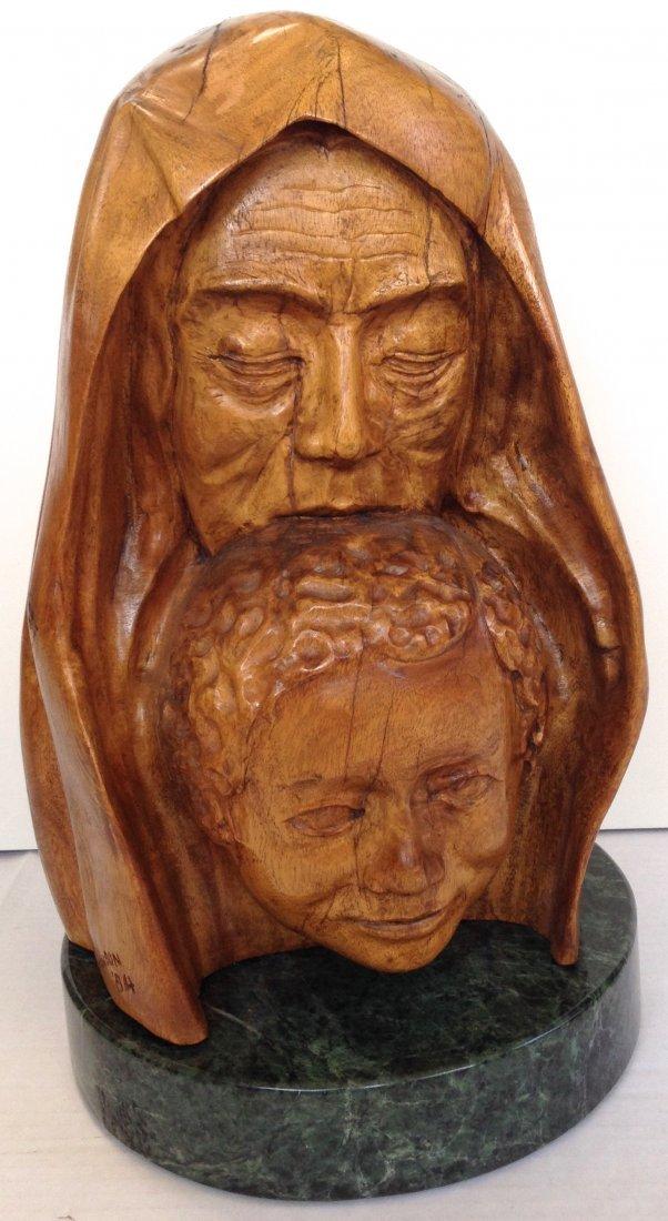 """Carved Biblical Sculpture """"Sarah & Isaac"""" Signed, H:18"""""""