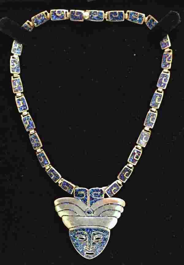 Margot De Taxco Mexican Silver & Enamel Necklace c.1950