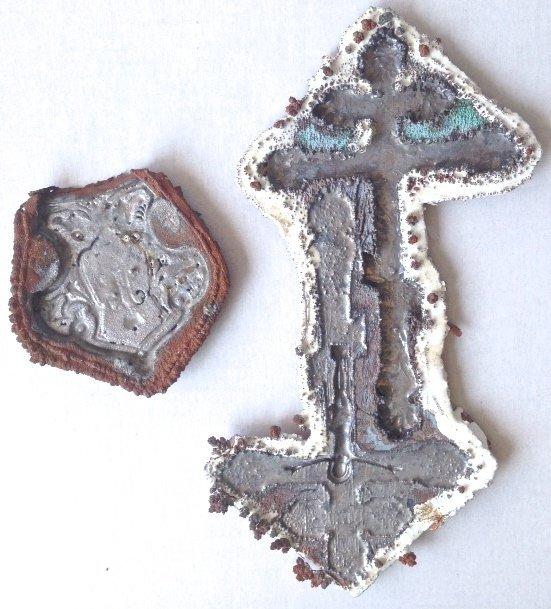 Russian Artifacts:Tsar Nicholas Ii Crest & Church Cross - 4