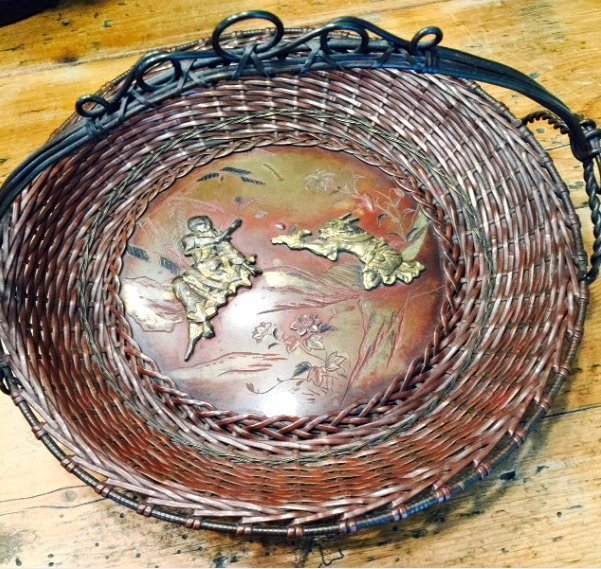 Antique Japanese Woven Bronze Basket with Handle
