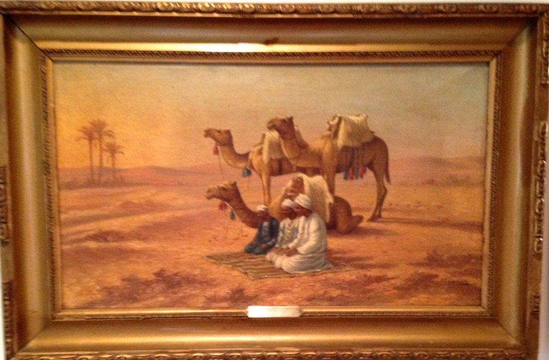 Orientalist Painting Arabs at Prayer, Oskan Chimchidian