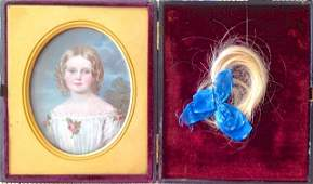 Miniature Portrait Painting of a Young Girl 19th c
