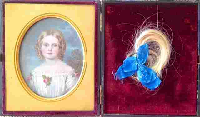 Miniature Portrait Painting of a Young Girl, 19th c.