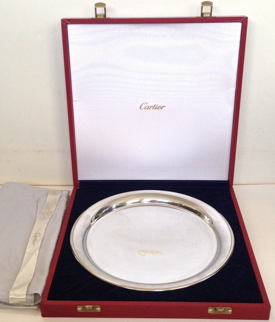 Cartier Silver Plate Serving Tray with Original Box