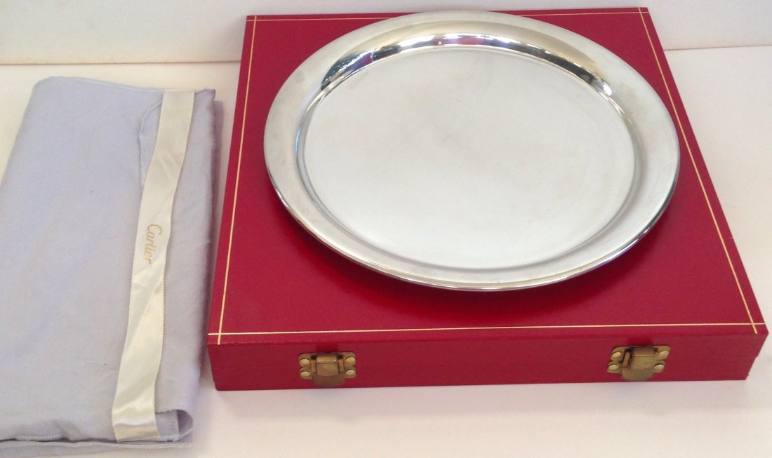 Cartier Silver Plate Serving Tray with Original Box - 5