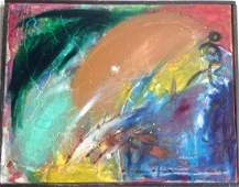 Abstract Oil Painting Monogrammed H.H.