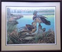 """Jim Foote, Wildlife Lithograph """"Wood Ducks"""", Signed"""