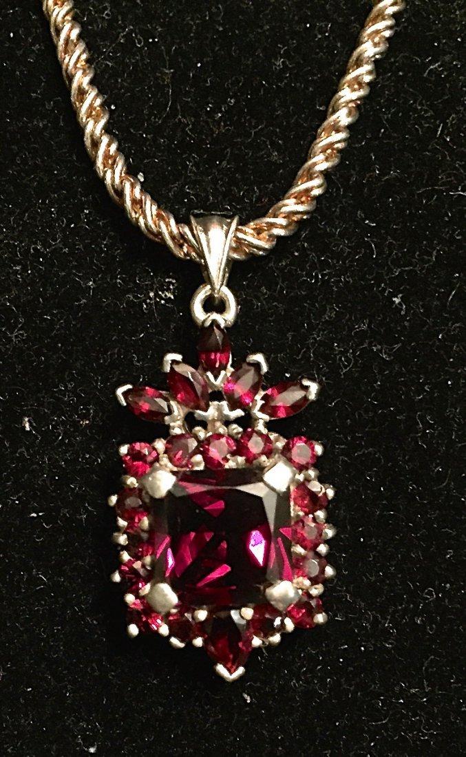 Garnet Cluster Pendant & Chain Necklace
