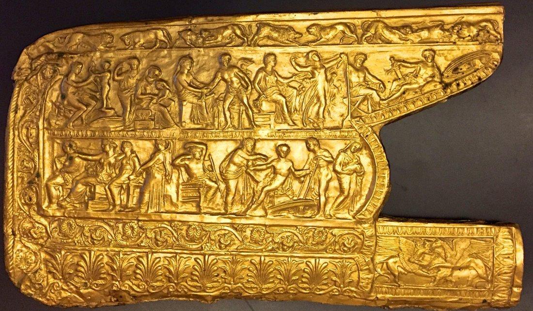 Greek Architectural Gilt Bronze Mythological Panel