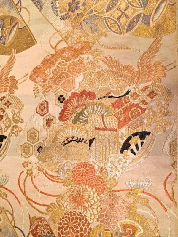 Japanese Woven Silk Textile 'Cranes & Floral'14ft. Long