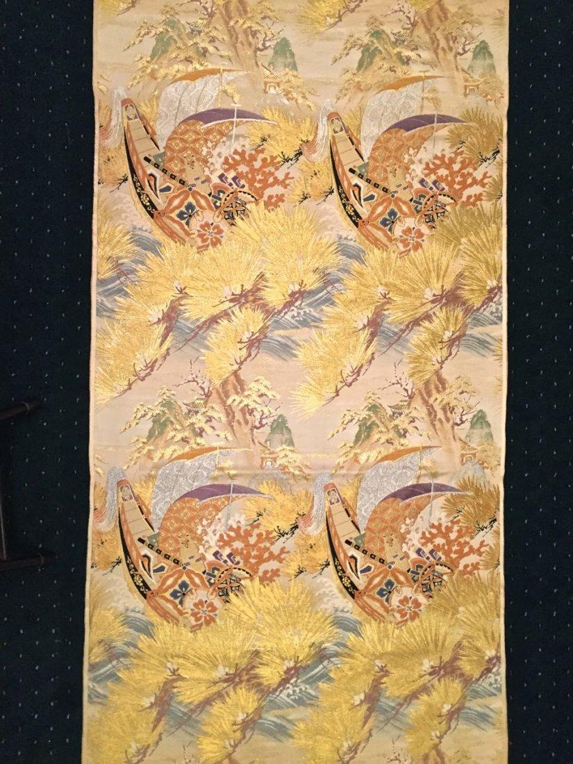 Japanese Woven Silk Textile Panel, 16 Feet Length