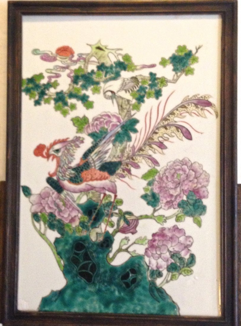 Chinese Porcelain Plaque 'Bird And Peonies'