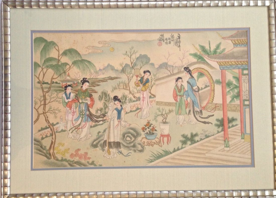 Chinese Watercolor, Landscape Garden Scene, Signed