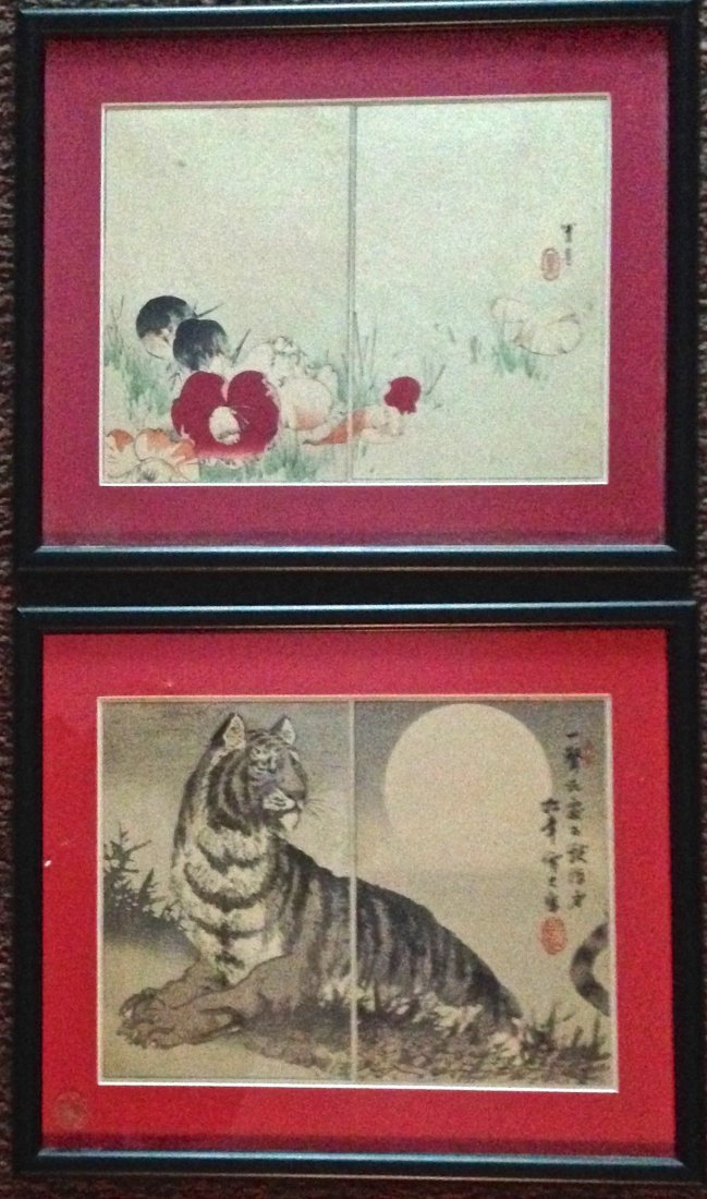 """Japanese Album Woodblocks, """"Tiger and Flora"""", Signed"""