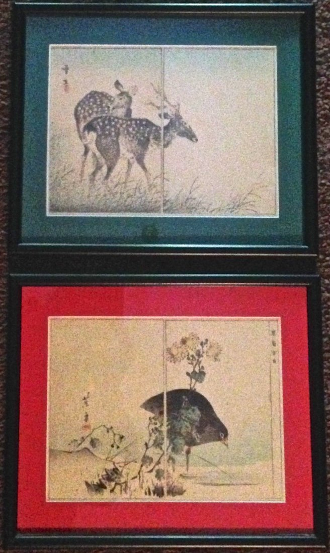 Japanese Album Woodblocks 'Deer & Exotic Bird' Signed