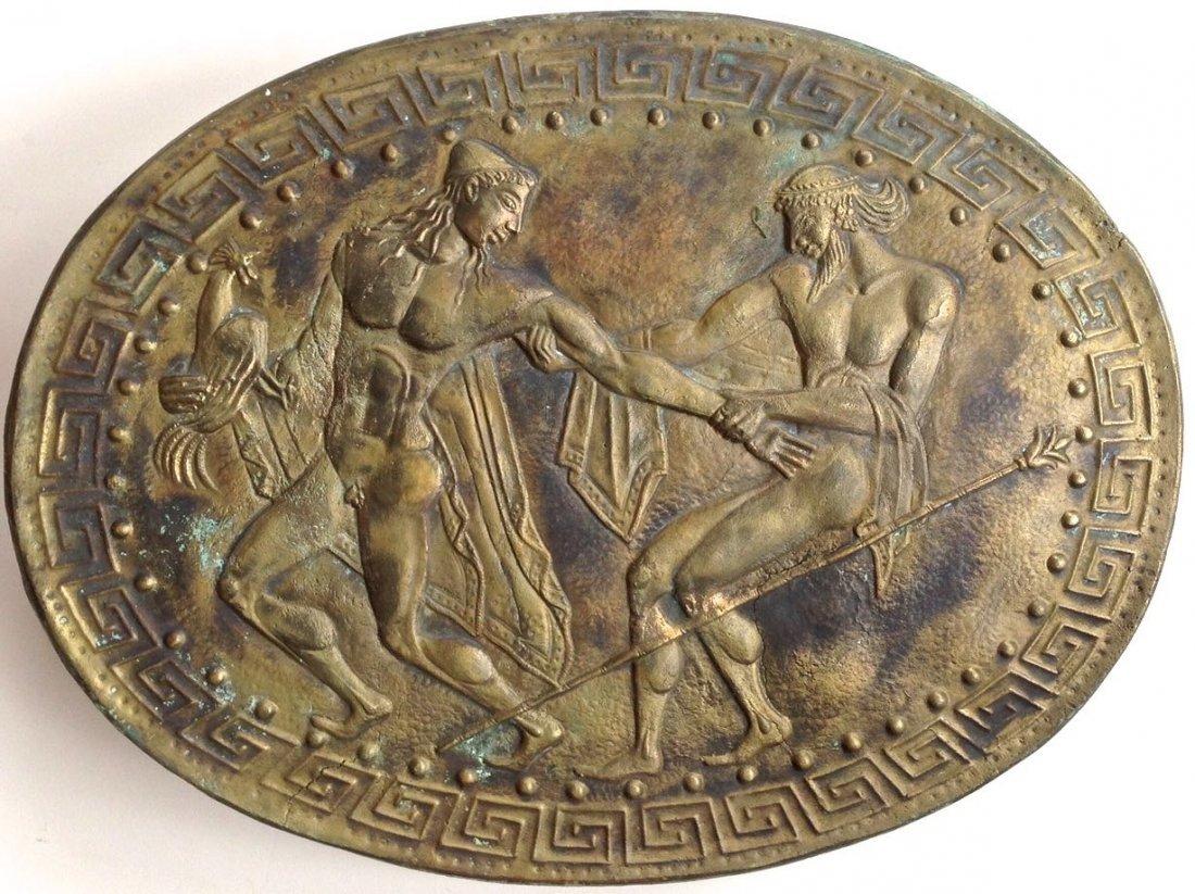 Bronze Figural Erotic Battle Shield