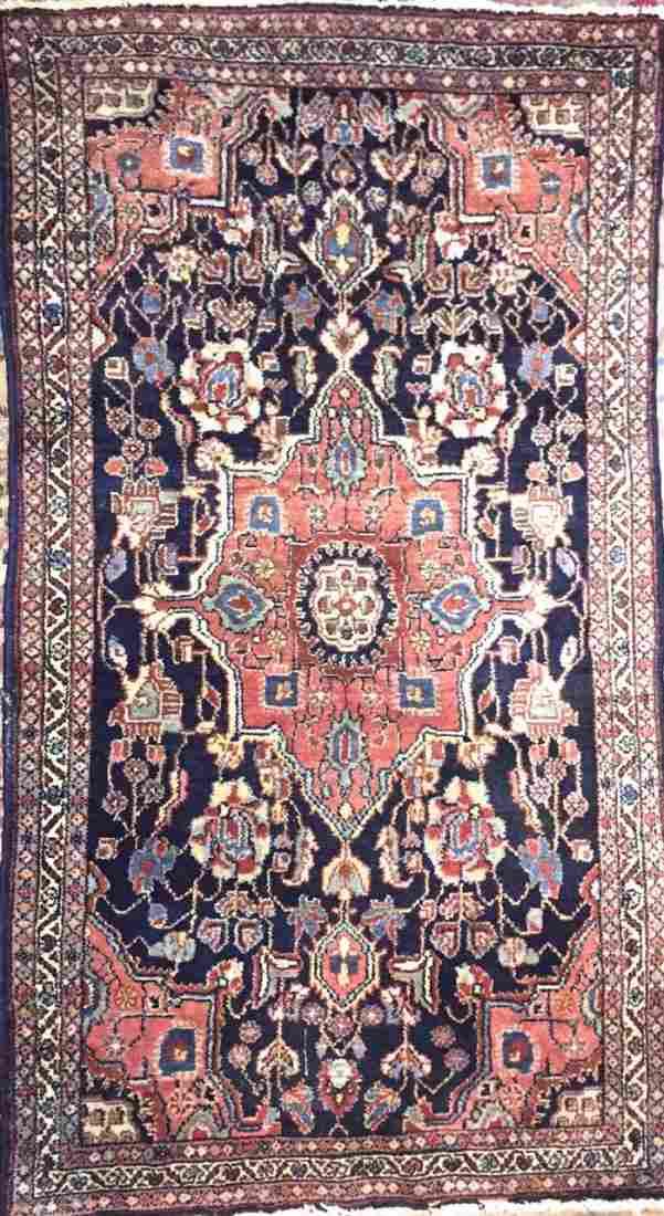 "Semi-Antique Persian Tabriz Rug, 4' 9"" lg x 2' 6"" wd"