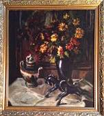 Art Deco Still Life Painting With Chinese Tea Pot