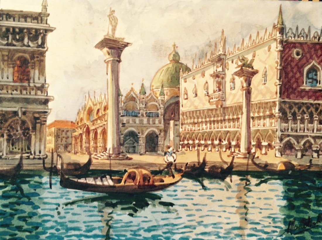 Venetian watercolor, San Marco Plaza, Marchetto