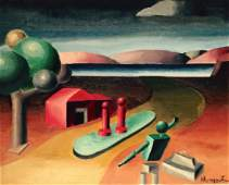 Surreal Cubist Landscape Painting, Hungerford