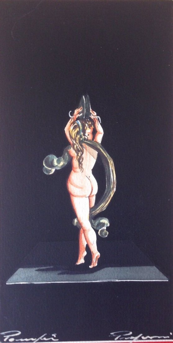 Continental Painting, Exotic Nude Dancer, Signed
