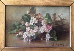 19th C. Floral Still Life Painting, Signed