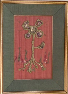 "Antique Framed French Textile,""la Fleur Verte"""