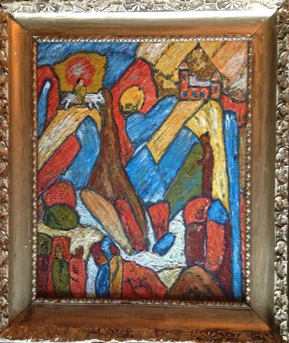 Mid-Century Modernist Landscape Oil Painting