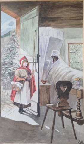 Little Red Riding Hood, Illustration Painting, 1907 A.b