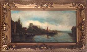 19th C Continental Oil Painting Village Harbor