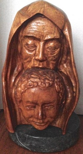 "Judaica: Biblical Carved Sculpture ""sarah & Isaac"" 18"""