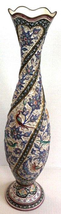 "Persian Islamic Polychrome Enamel Vase, 19""lg."