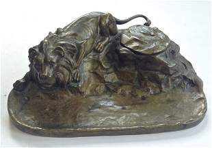 Austrian Bronze Inkwell With Figural Lion
