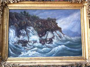 Oil Painting, Coastal Shipwreck c.1900's