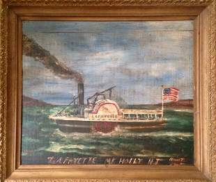 American Oil Painting, Steamboat  Lafayette, 19th C.