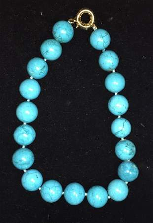 Estate Turquoise Bead Necklace With Gold Clasp (20mm)