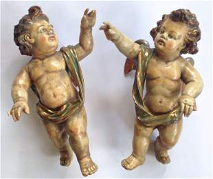 Pair Of Italian Carved & Polychrome Putti