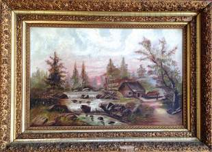 Landscape Painting With Rushing Stream, L.G. 1895