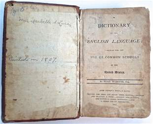 Antiquarian Book: Noah Webster Dictionary,1807
