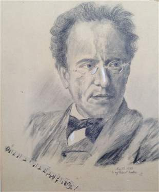 Gustav Mahler, Portrait Drawing, Inscribed