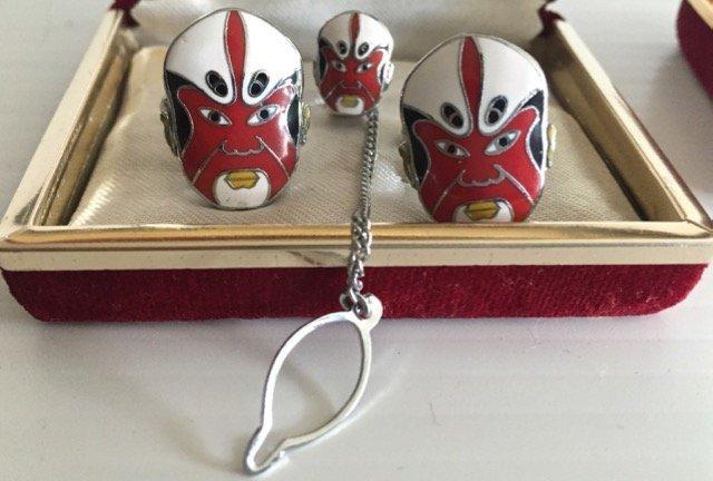 Chinese Enamel Opera Mask Cufflinks Tie Tack Set (2) - 3